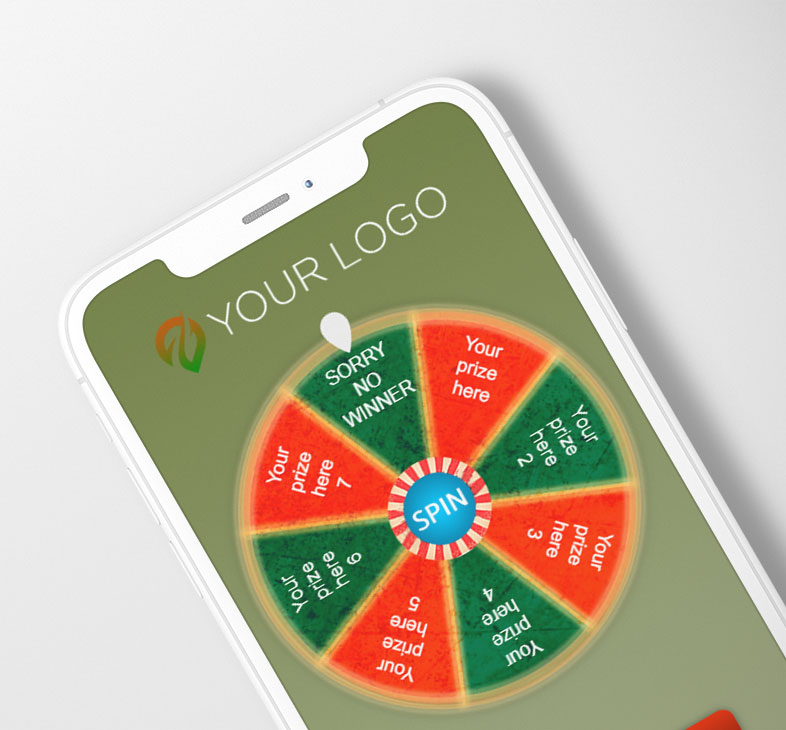 Digital Spin Wheel Coupon on a smartphone.