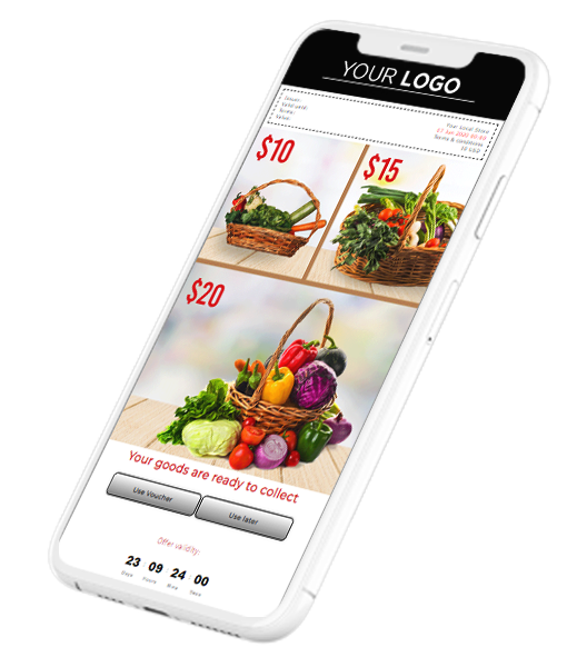 Digital Payment Voucher for take-away orders on a smartphone.