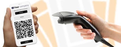 Voucher met QR-code op een smartphone wordt op afstand gevalideerd met een POS-scanner.