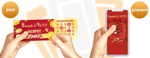 Cupom raspadinha em papel e Cupom Digital Raspadinha em um smartphone.