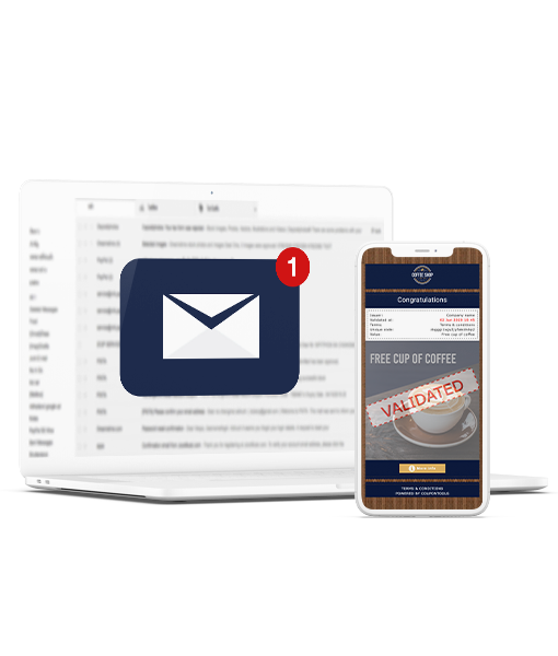 Digital single-use Coupon on smartphone next to laptop with email inbox opened.