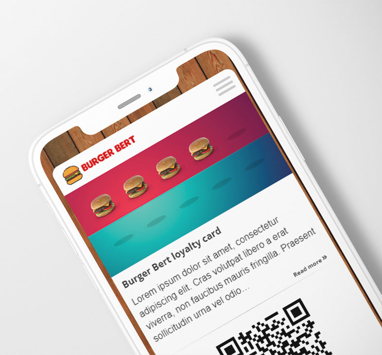 Digital Stamp Loyalty Card with burgers on a smartphone