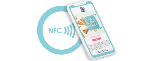 Smartphone interacting with NFC and automatically opens Digital Coupon on smartphone.