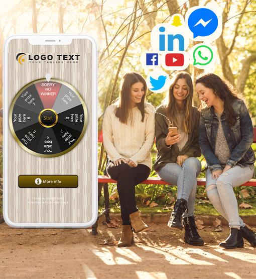 Personas que interactúan con el Cupón de Rueda Giratoria Digital para las Redes Sociales.