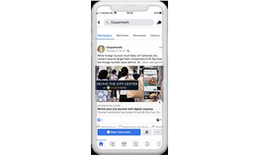 Cupón Digital en una Línea de Tiempo de Facebook en un celular.