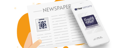 Coupontools Mobile Scratch & Win Coupon on a smarthphone and newspaper with QR Code