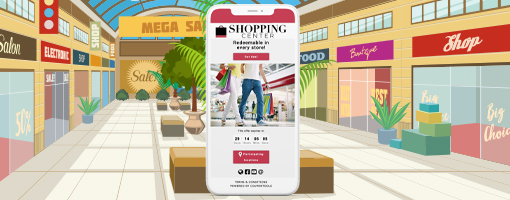 Universal Voucher on a smartphone in a shopping center environment.