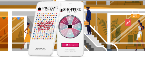 Digital Spin Wheel and Scratch&Win Coupons on smartphones for shopping centers.