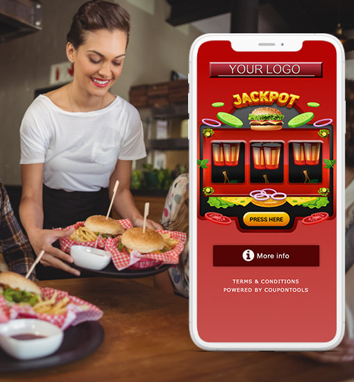 Digital Slot Machine Coupon for restaurants on smartphone while person is serving food.