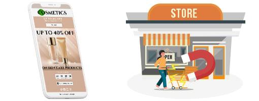 Utilisez les coupons électroniques pour attirer des personnes à visiter votre magasin de vente au détail.