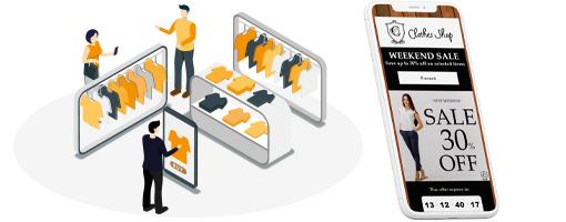 Personnes dans un magasin de vêtements avec un coupon électronique classique sur un smartphone.