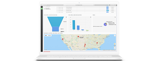 Location-based Digital Coupon statistics overview in a laptop.
