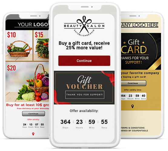 Digital Payment Vouchers and Gift Cards on smartphones.