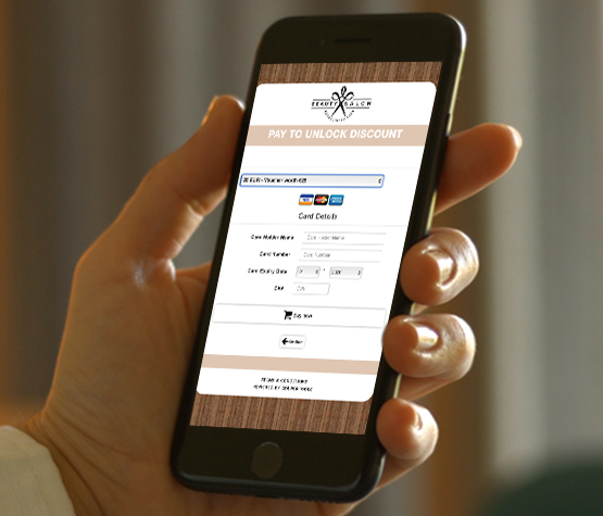 Digital Payment voucher with payment integration on a smartphone in hand.