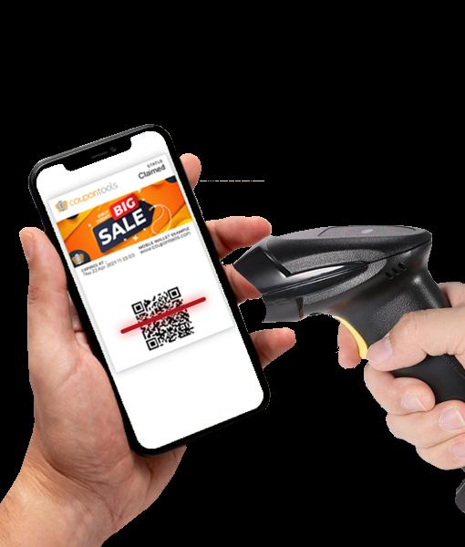 Mobile Wallet Marketing Platform - Woman holding smartphone with Digital regular Coupon saved to her Mobile Wallet.