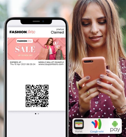 Woman holding smartphone with Digital regular Coupon saved to her Mobile Wallet.