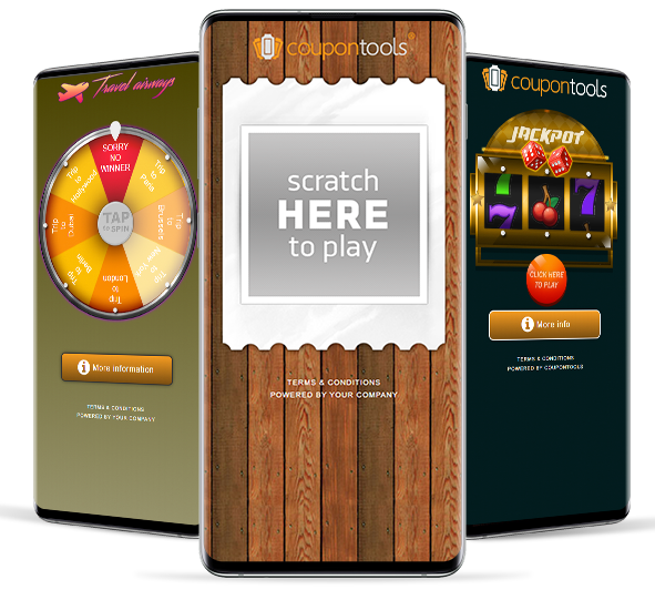 Digital Spin Wheel, Scratch & Win, and Slot Machine Coupon.