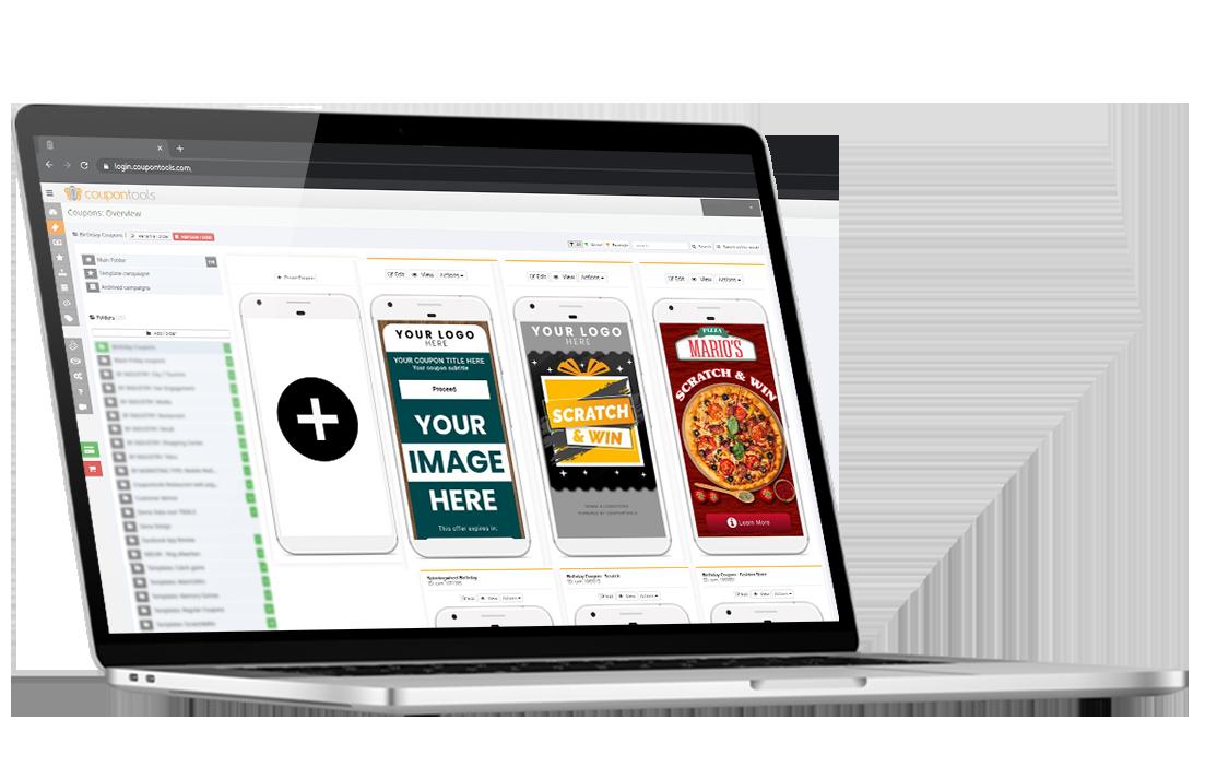 Créateur de coupons mobiles Coupontools remanié sur un ordinateur portable